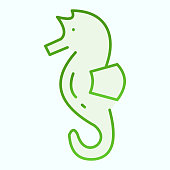 Sea Horse flat icon. Sea animal hippocampus illustration isolated on white. Hippocampus gradient style design, designed for web and app. Eps 10