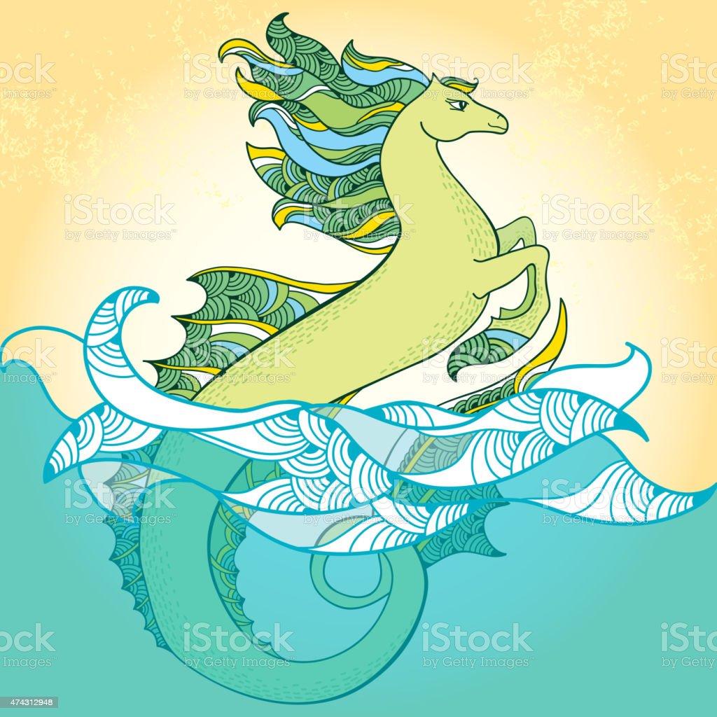 Ilustración De Caballito De Mar Hipocampo Mitológicos La Serie De
