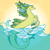 Sea horse. Mythological Hippocampus. The series of mythological creatures