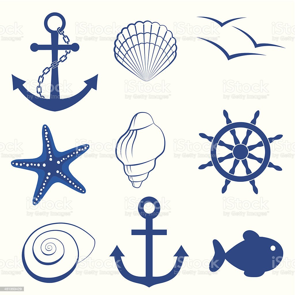 Sea icon collection vector art illustration