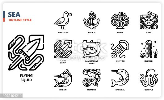 Sea icon set for website, application, printing, document, poster design, etc.