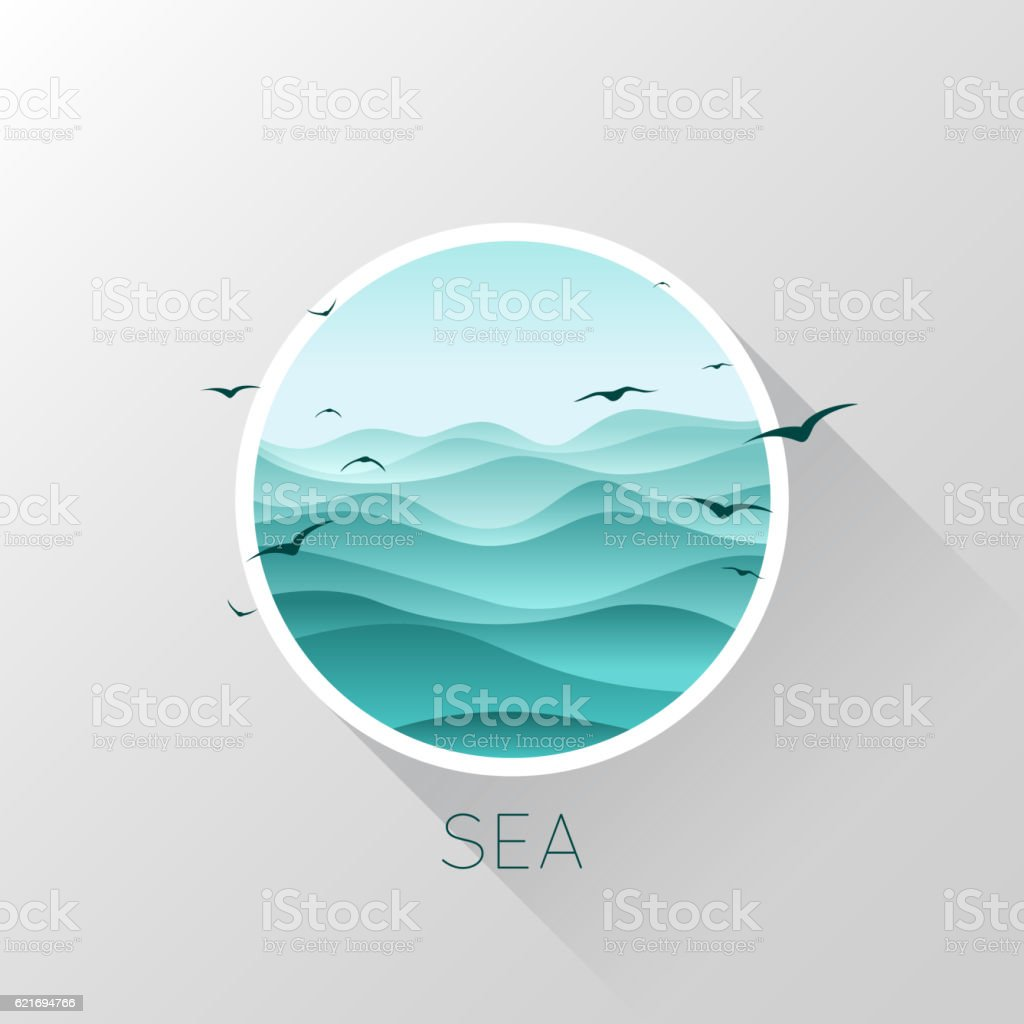 Sea icon. Waves and seagulls. Vector illustration. - ilustración de arte vectorial