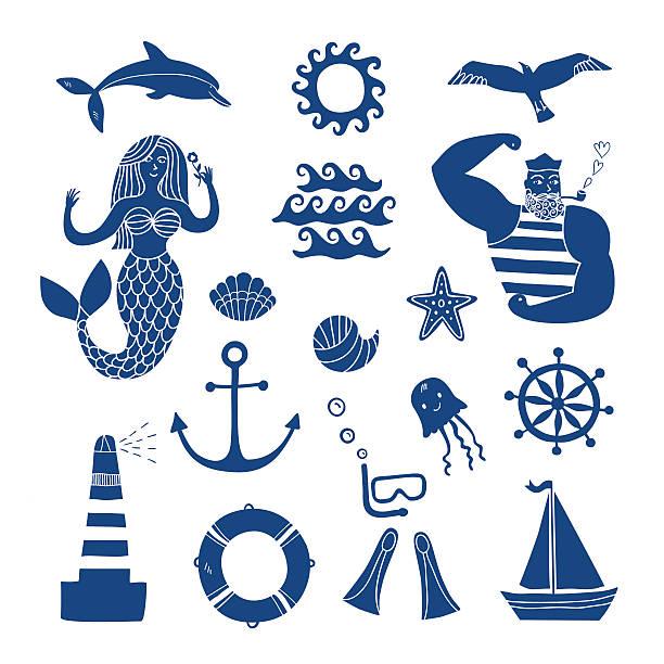 illustrazioni stock, clip art, cartoni animati e icone di tendenza di set di icone del fumetto mare - immerse in the stars