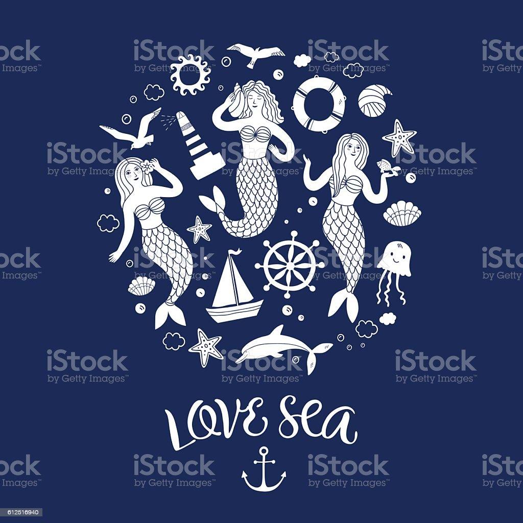 Sea icons cartoon set with lovely mermaids – Vektorgrafik