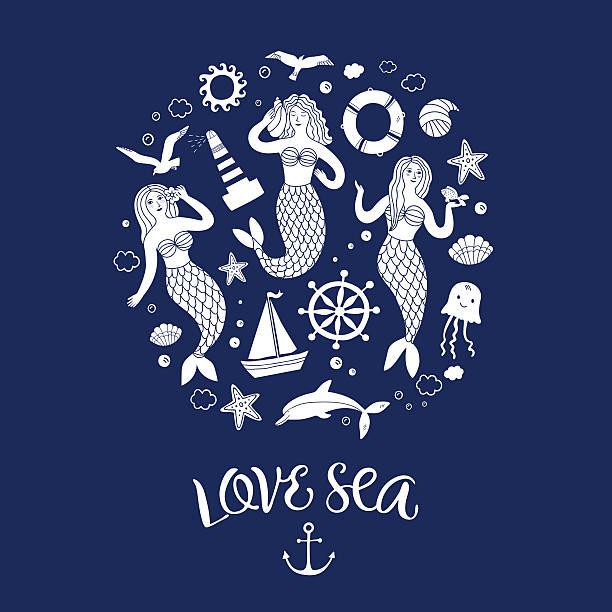 illustrazioni stock, clip art, cartoni animati e icone di tendenza di sea icons cartoon set with lovely mermaids - immerse in the stars