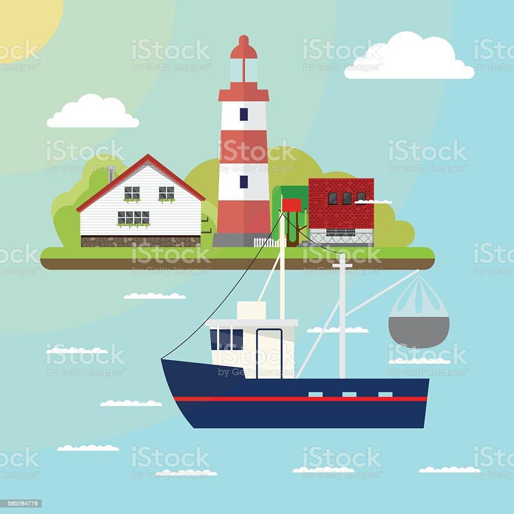 Sea illustration vector art illustration
