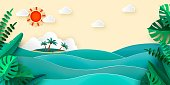 Sea island palm tropical leaves sun clouds in papercut style. Advertising banner for promotion travel services Vector illustration EPS 10