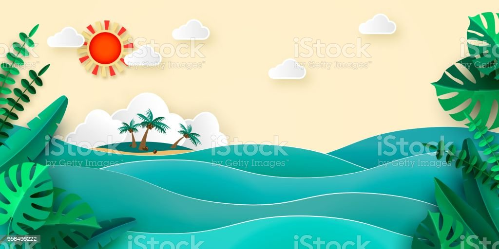 Sea island palm tropical leaves sun clouds in papercut style. Advertising banner for promotion travel services Vector illustration vector art illustration