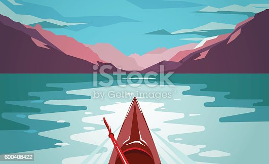 istock Sea kayaking at Norway fjord. Fun outdoor journey. 600408422