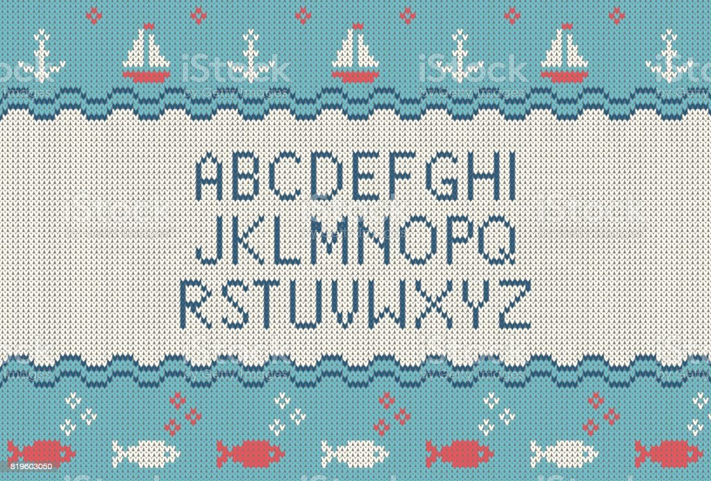 Sea Knitted Font Knitted Latin Alphabet On Sea Theme Patterns
