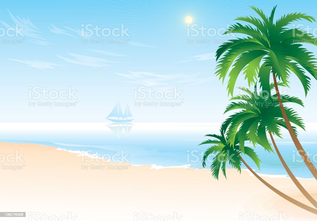 Sea landscape and palm tree royalty-free stock vector art