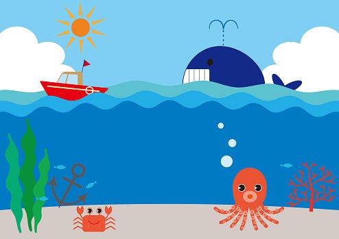 Sea Landscape Background, Blue Sky, Cumulonimbus, Sunshine, Whale, Boat, Octopus, Seaweed, Coral, Anchor