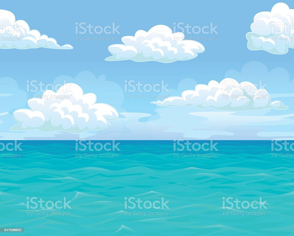 Sea landscape seamless horizontal vector art illustration