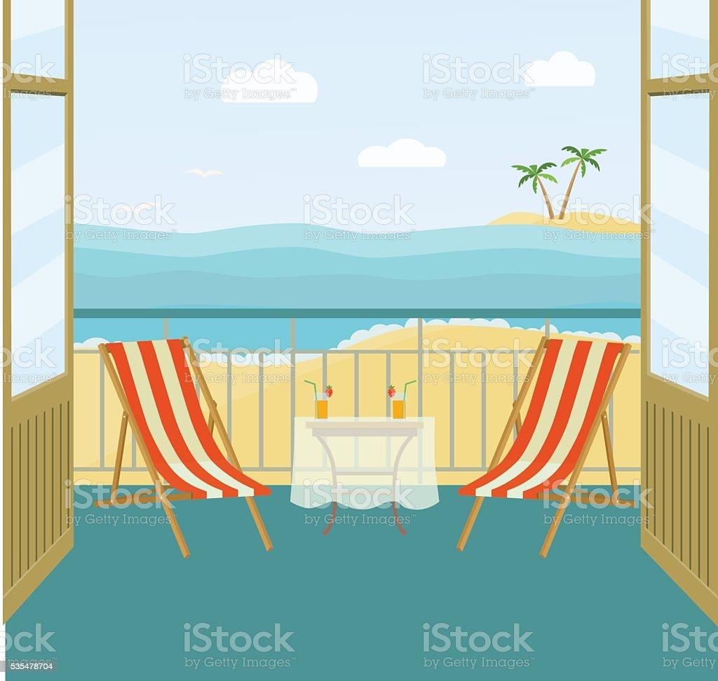 Sea landscape summer beach. balcony. Vector flat illustration vector art illustration