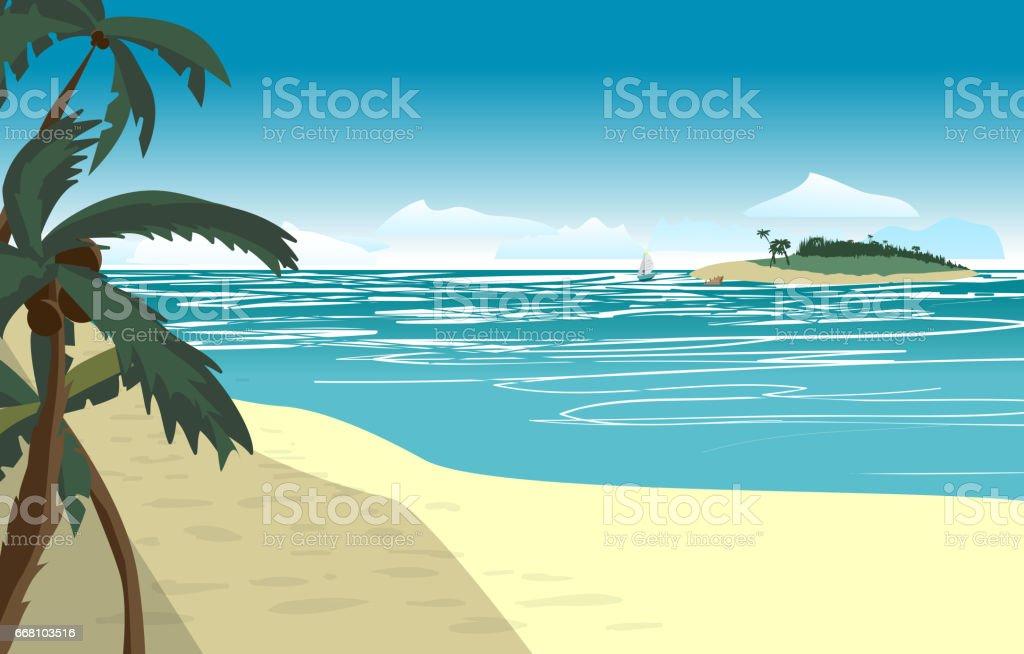 Sea landscape summer beach vector art illustration