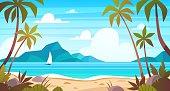 Sea landscape. Tropical beach, ocean seashore. Paradise island panorama with palm tree and sky, exotic resort summer vacation cartoon vector concept