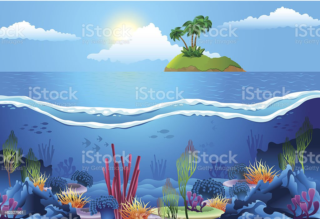 Sea landscape. vector art illustration