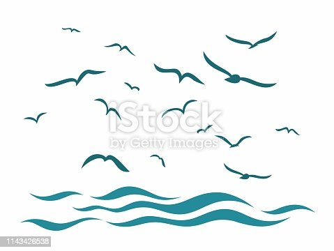 A sea landscape with flight of birds.