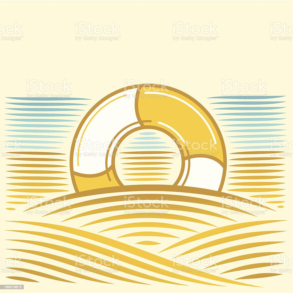 Sea landscape with lifebuoy royalty-free sea landscape with lifebuoy stock vector art & more images of backgrounds