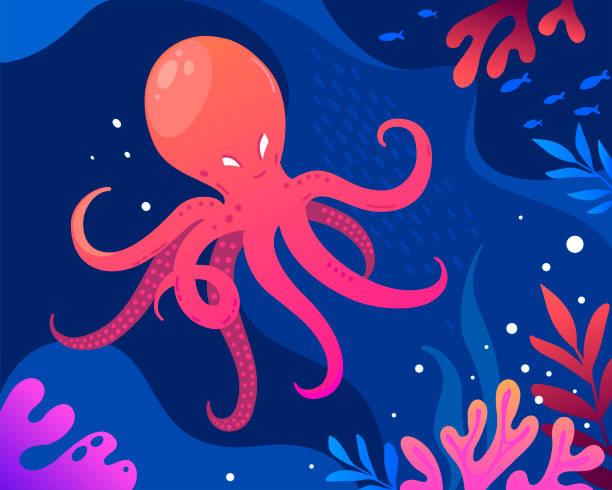 meereslandschaft mit octopus-illustration - krake cephalopode stock-grafiken, -clipart, -cartoons und -symbole