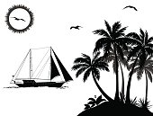 Tropical Sea Landscape, Palm Trees and Flowers, Sailboat Ship, Sun and Birds Gulls Black Silhouettes Isolated on White Background. Vector