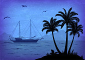 Exotic Landscape, Tropical Palm Trees, Sea with Ship, Seagulls in the Sky, Black Silhouettes on Blue. Vector