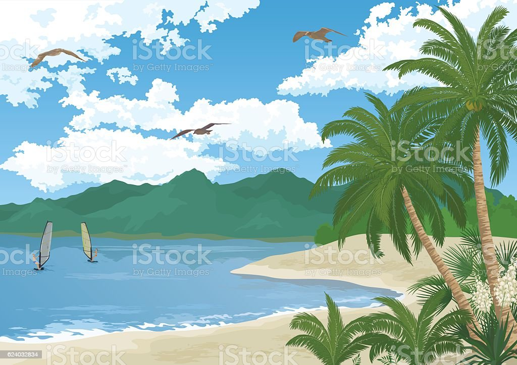 Sea Landscape with Palms and Surfers vector art illustration