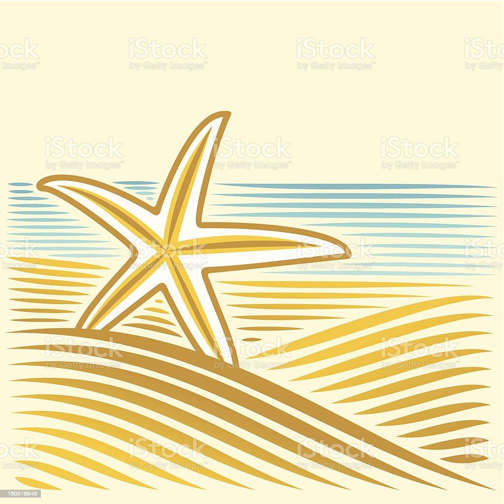 Meer-Landschaft mit seastar – Vektorgrafik