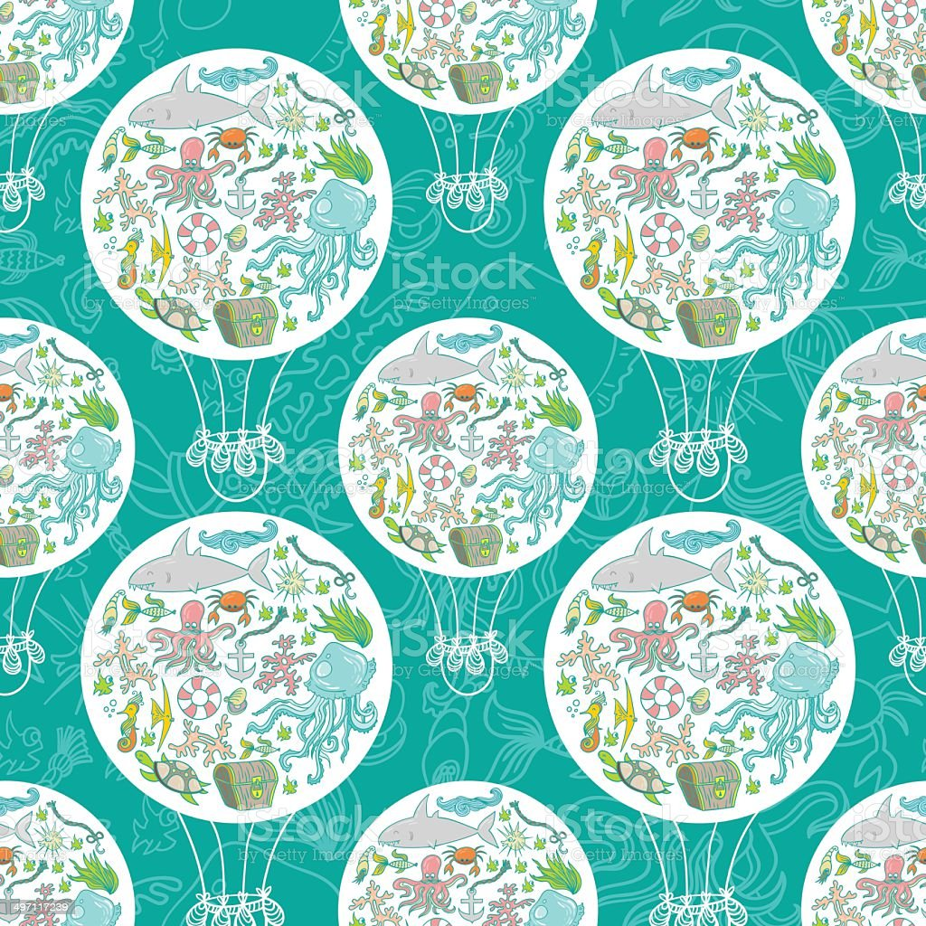 Sea life air baloon pattern vector art illustration