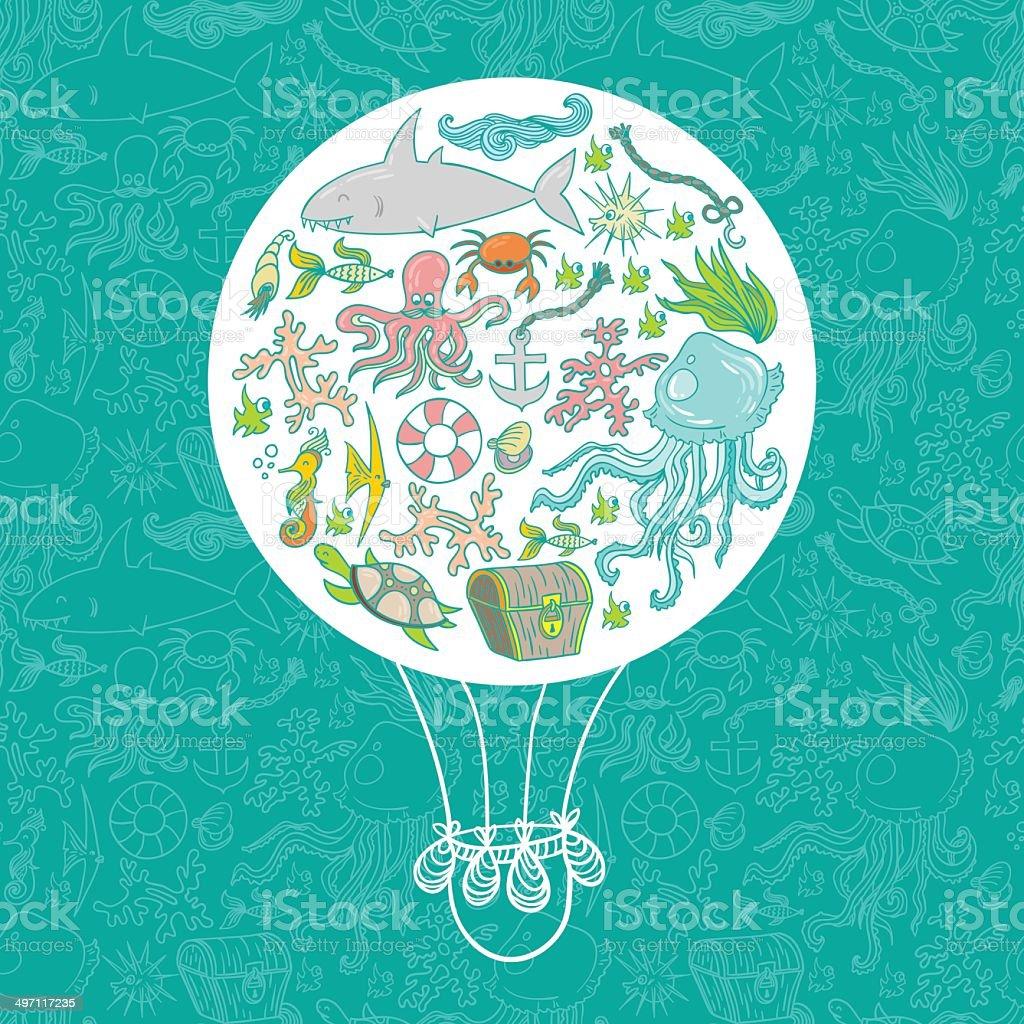 Sea life air baloon royalty-free sea life air baloon stock vector art & more images of animal