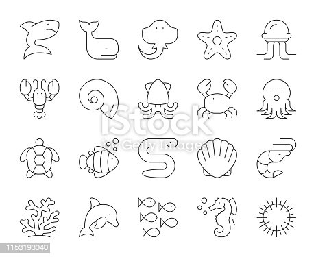 Sea Life and Ocean animal Thin Line Icons Vector EPS File.
