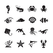 Sea Life and Ocean animals icon, set of 16 editable filled, Simple clearly defined shapes in one color.