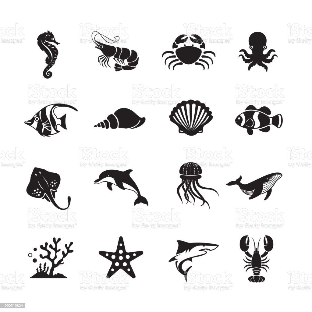 Sea Life and Ocean animals icon vector art illustration