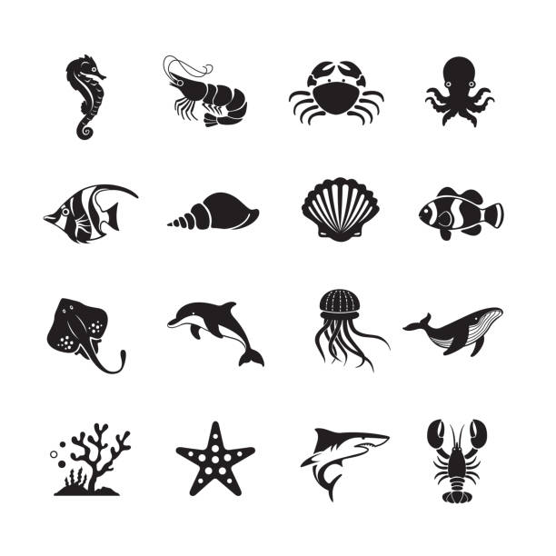 Sea Life and Ocean animals icon Sea Life and Ocean animals icon, set of 16 editable filled, Simple clearly defined shapes in one color. marine life stock illustrations