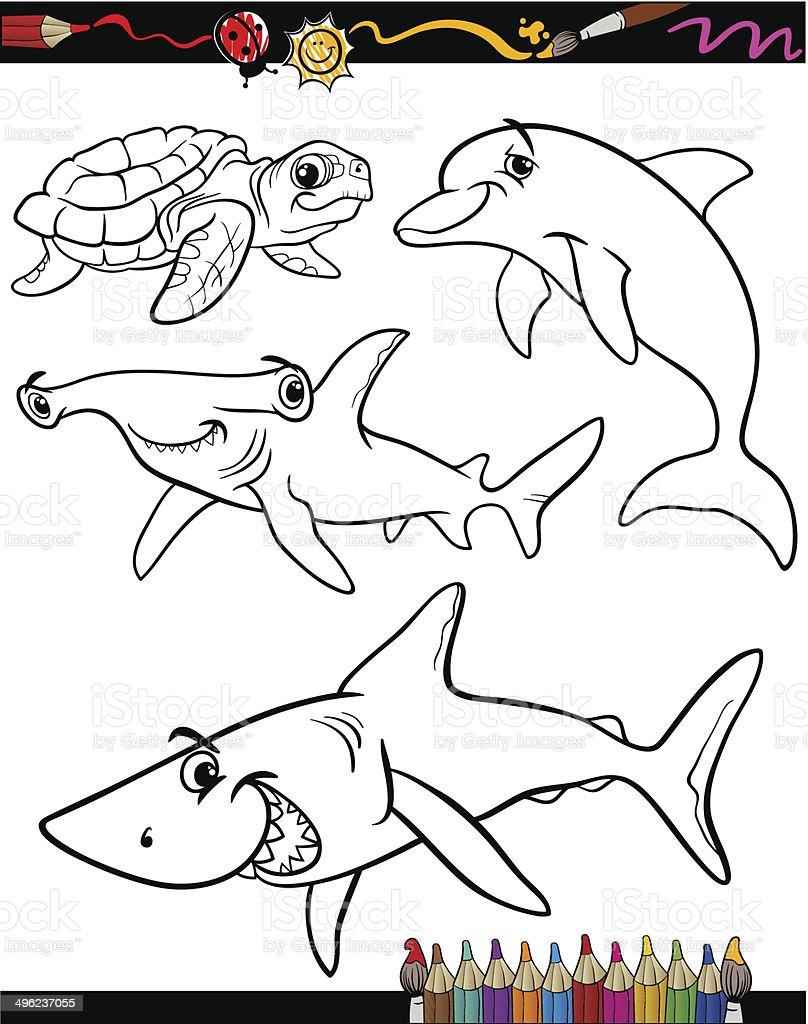 Meer Leben Cartoon Tiere Malbuch Stock Vektor Art und mehr Bilder ...