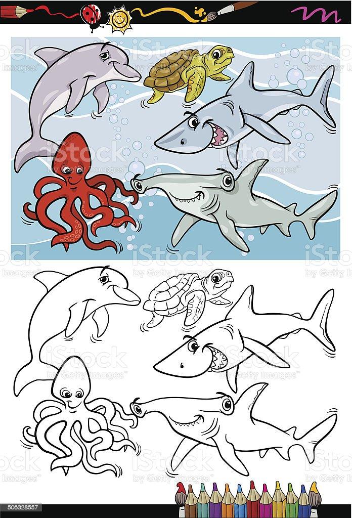 Ilustración de Vida Marina De Animales De Dibujos Animados Libro ...