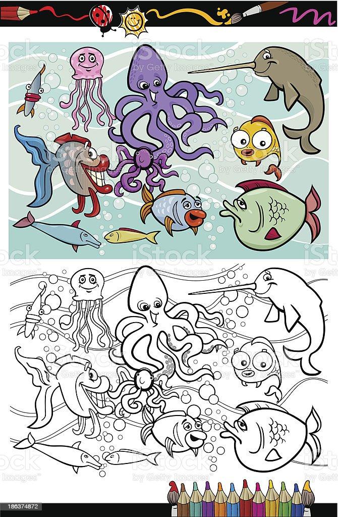 Ilustración de Grupo De Animales De Vida Marina Libro Para Colorear ...