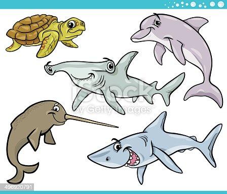 istock Mar colorido Vector de patrón sin costuras de animales ...