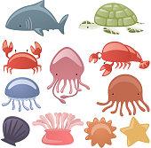 Various Sea life Animals shark, Turtle, scrub, octopus, oyster, dragonfly, shell, lobster, starfish vector illustration.