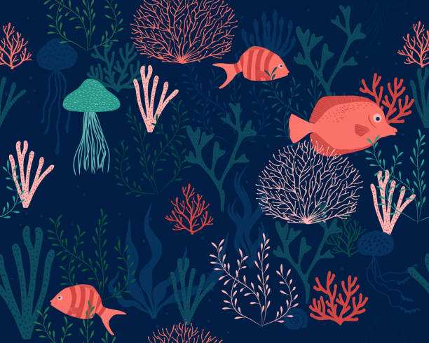 sea life background seamless vector illustration eps file with seamless pattern marine life stock illustrations