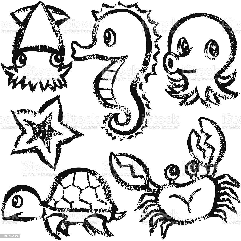 海の生物に手書き - イカのベクターアート素材や画像を多数ご用意