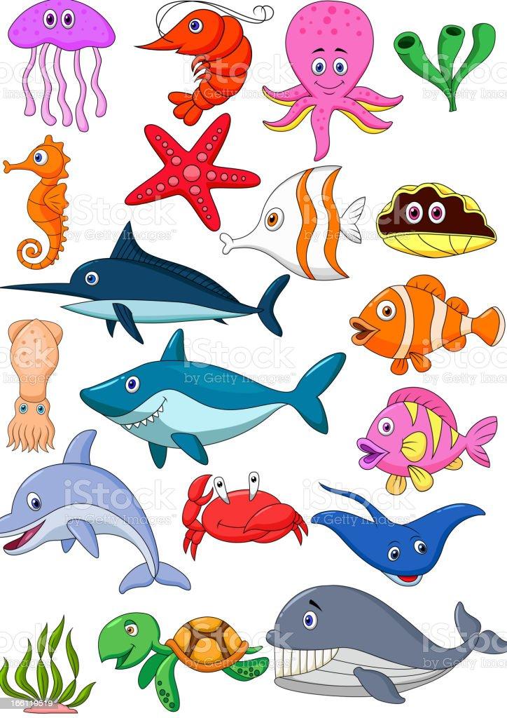 Sea life cartoon set vector art illustration