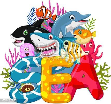 vector illustration of Sea life cartoon