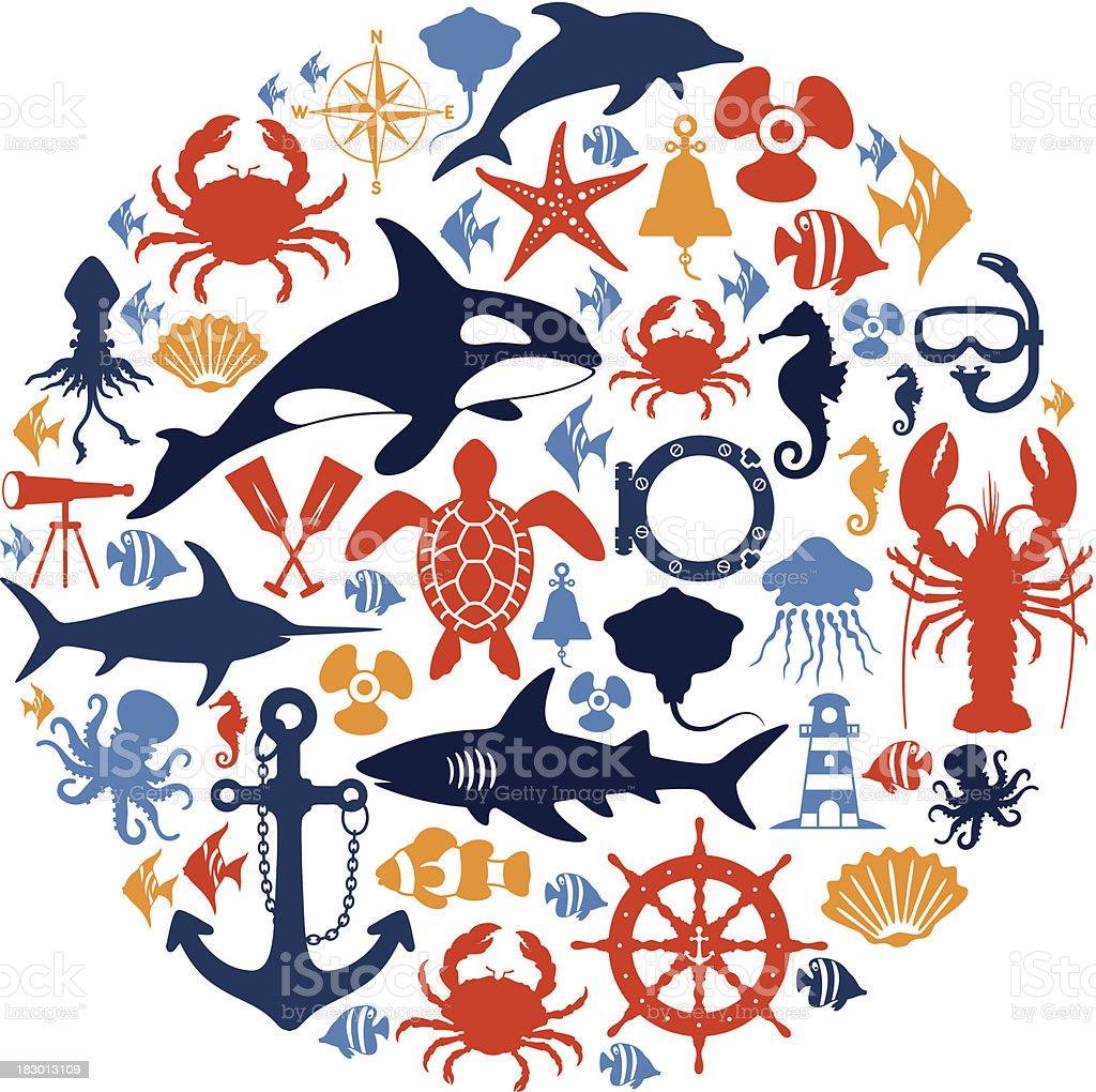 Sea Life Collage vector art illustration