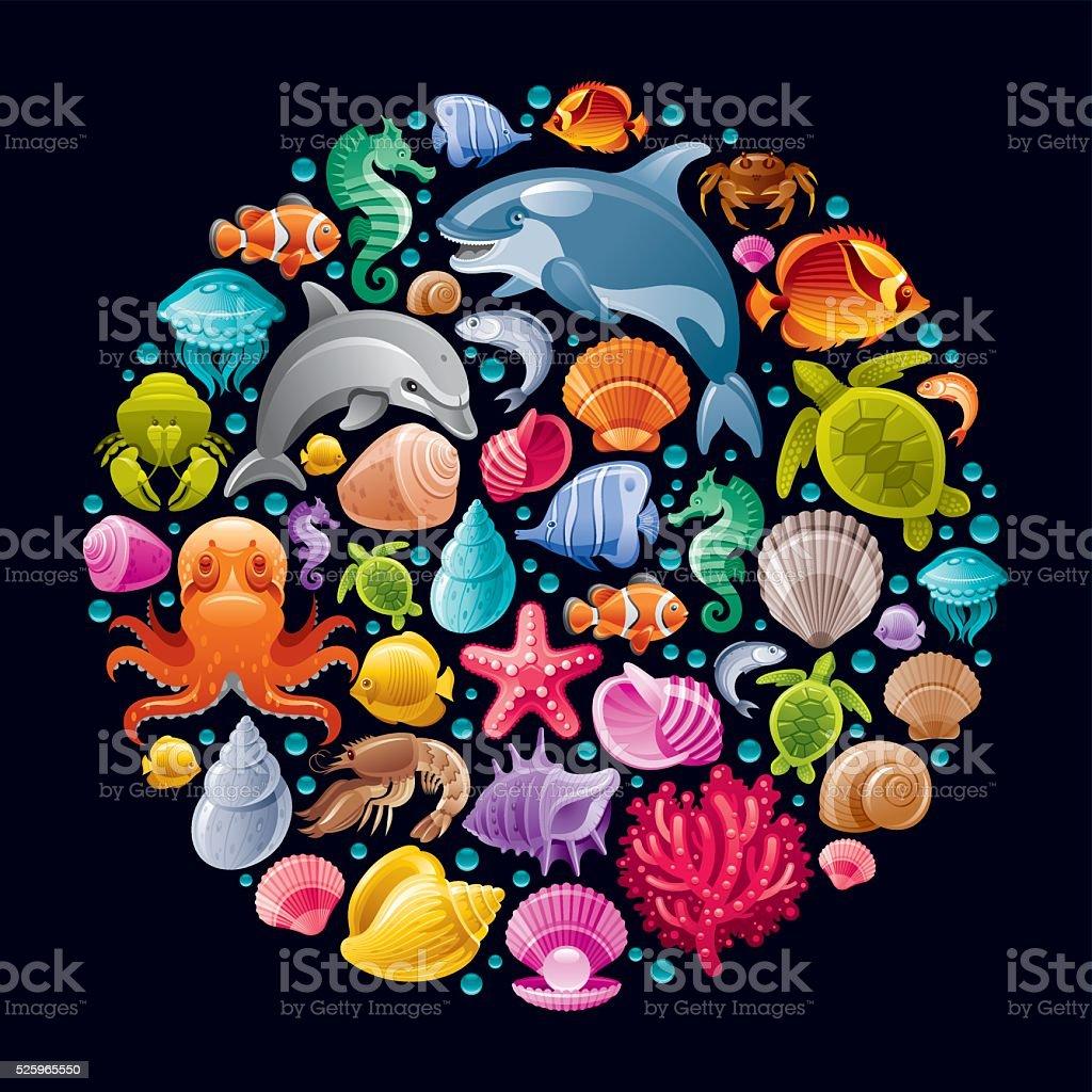 바다빛 생은 색상화 아이콘 벡터 아트 일러스트