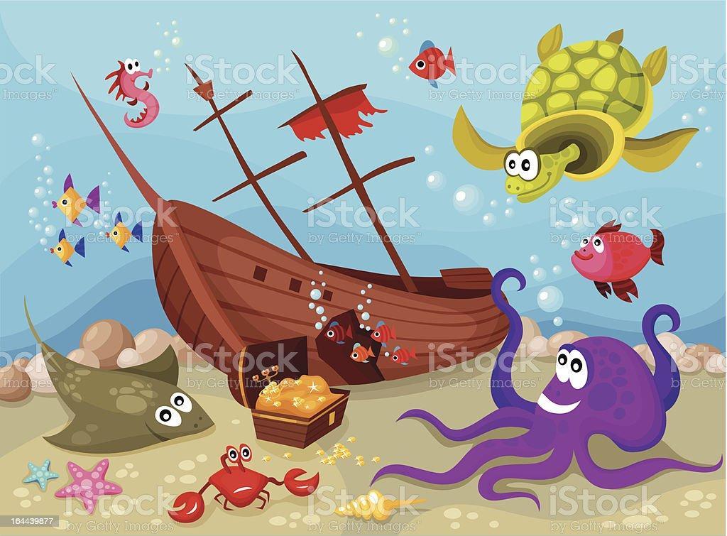 Sea life comic with empty pirate ship vector art illustration