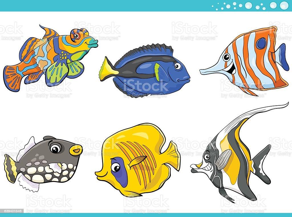 sea life fish characters set vector art illustration