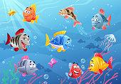 Vector illustration of cute, colorful cartoon fish under the sea.
