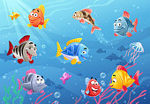 Vector illustration of cute, colorful cartoon fish under the sea.