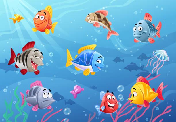 illustrazioni stock, clip art, cartoni animati e icone di tendenza di sea life- happy fish - pesci
